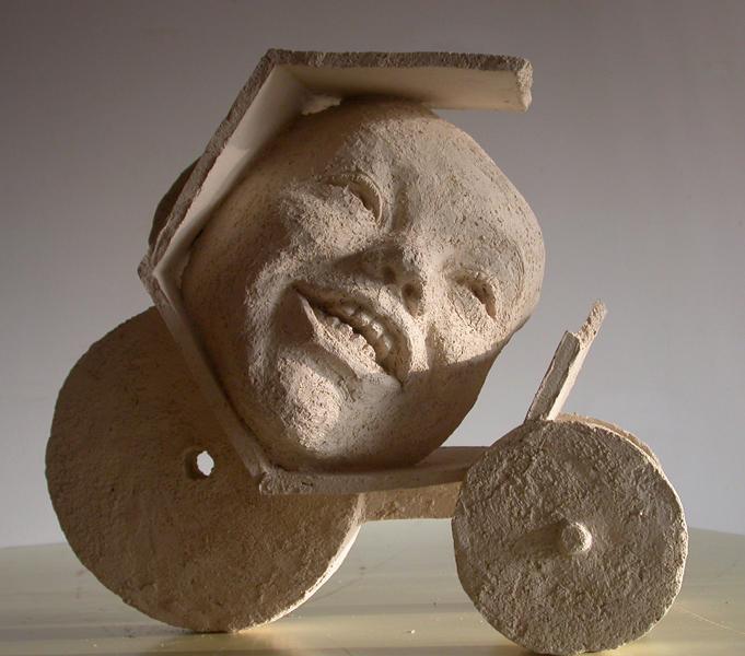 Sculpture contemporaine en terre cuite.